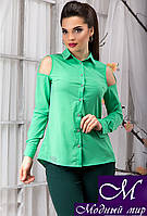Эффектная женская блуза зеленого цвета с открытыми плечами  (р. S, M, L, XL) арт.12916