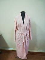 Махровый мужской халат персикового цвета (XXL)
