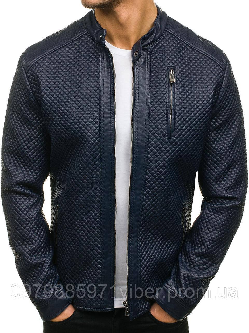 8a8d7f462709 Стеганая мужская куртка из эко кожи синяя - Доставка товаров из Польши в  Львове