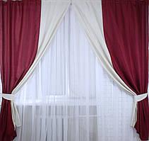 """Комплект готовых штор """"Лен"""",  2 шторы размером по 1.5*2,45м. Код е407"""