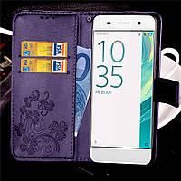 Чехол Книжка для Sony Xperia XA1 / G3112 / G3116 / G3121 / G3125 кожа PU Clover фиолетовый