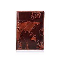 """Кожаное дизайнерское портмоне для документов коньячного цвета, коллекция """"7 Wonders of the World"""""""