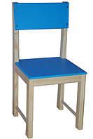 Детский стульчик со спинкой 32 см натуральное дерево сосна (голубой)
