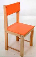 Детский стул со спинкой 32 см натуральное дерево сосна (оранжевый)