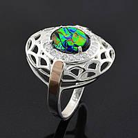 Серебряное кольцо с золотой пластиной,размер 19, опал искусственный,вес серебра 4.35 г,вес золота 0.08 г