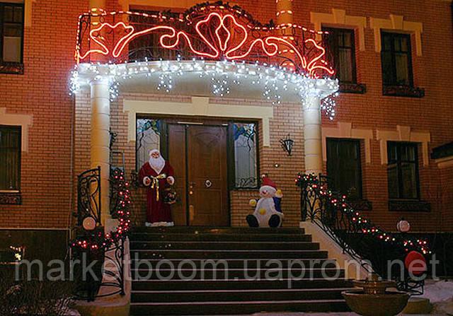 Новогоднее оформление фасадов, праздничная подсветка зданий