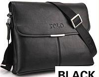 Мужская сумка POLO горизонтального исполнения. Черная.