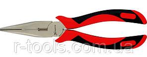 Длинногубцы GRAND 160 мм прямые никелированные двухкомпонентные рукоятки MTX 171369