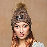 Вязаная женская шапка на флисе с отворотом и помпоном