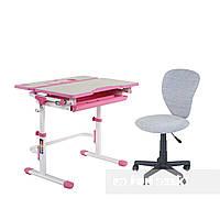 Комплект растущая парта Lavoro L Pink + детское кресло для школьника LST2 Grey FunDesk