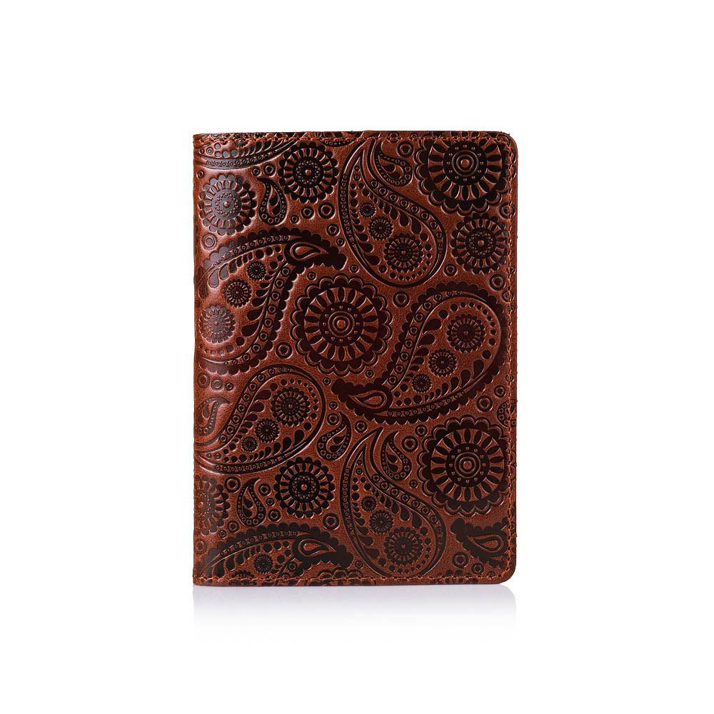 Оригинальная дизайнерская кожаная обложка для паспорта ручной работы коньячного цвета