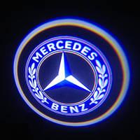 Подсветка логотипа авто на двери Mercedes Benz