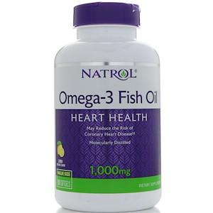 Natrol, Омега-3 рыбий жир, со вкусом лимона, 1000 мг, 150 желатиновых капсул