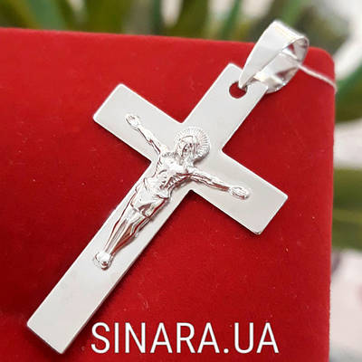 Нательный крест из серебра с распятием - Серебряный крестик мужской