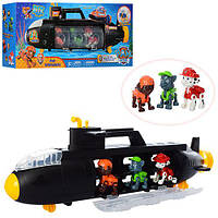 Транспорт XZ-871 Щенячий патруль подводная лодка-гараж 57см, фигурки 3шт 7см, в кор-ке 56-23-11см