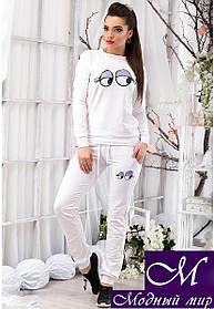 Стильный женский спортивный костюм белого цвета с принтом р. S, M, L арт. 12473