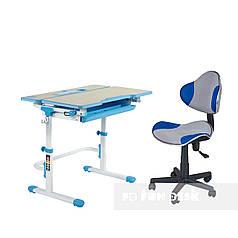 Комплект растущая парта Lavoro L Blue + детское компьютерное кресло LST3 Blue-Grey FunDesk