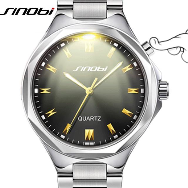 SINOBI Повседневныенаручные часы с подсветкой. Нержавеющаясталь. Кварцевые часы meskie zegarki.