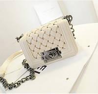 Женская сумка клатч Chanel white плетенная