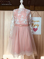 Нарядное гипюровое платье на девочек 134-152 роста Элегия