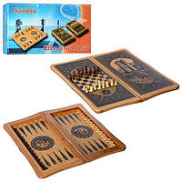 Нарды MK 0213 деревянные, 2в1 (шахматы), размер поля для игры в шахматы 18-18см, размер поля для игры в нарды 48-46,5см, шашки 30шт, кубики 2шт