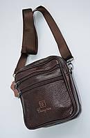 Кожаная сумка среднего размера через плечо коричневая