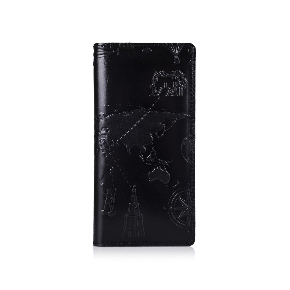 """Оригинальный бумажник с глянцевой натуральной кожи черного цвета на 14 карт, коллекция """"7 wonders of the world"""""""