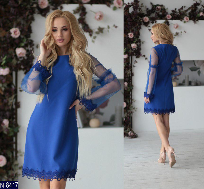 1d627f6745a Нарядное прямое платье с прозрачными рукавами и кружевом - купить по ...