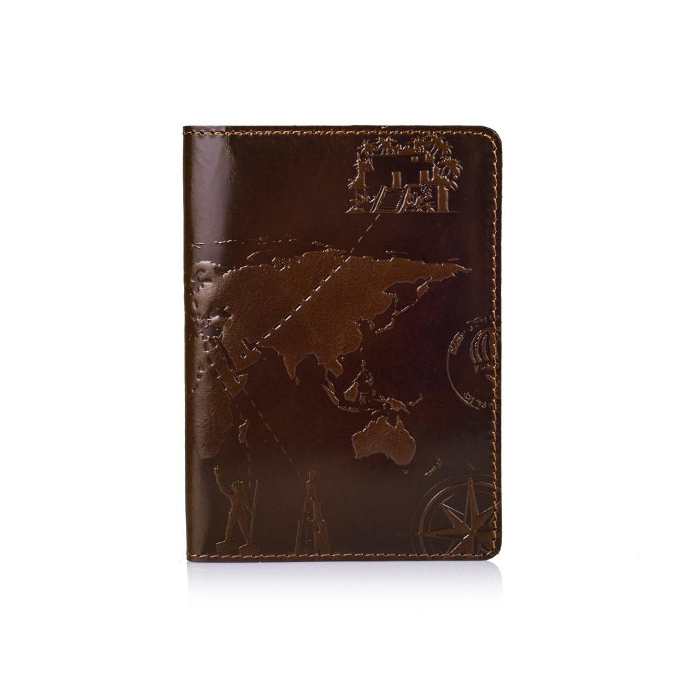 Оригинальная дизайнерская кожаная обложка для паспорта ручной работы оливкового цвета
