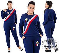Спортивный костюм из ткани двухнитка + ленты со стразами + аппликации, Цвет синий