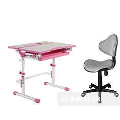 Комплект растущая парта Lavoro L Pink + детское компьютерное кресло LST3 Grey FunDesk