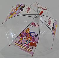 Детский зонт куполом прозрачный с рисунком Winx Винкс