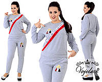 Спортивный костюм из ткани двухнитка + ленты со стразами + аппликации, Цвет светло серый (меланж)