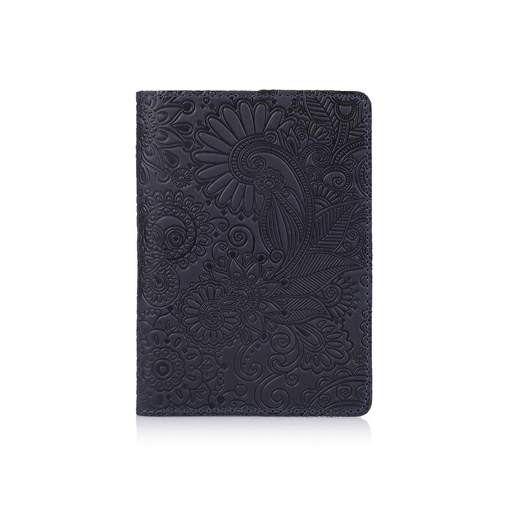 Синя обкладинка для паспорта ручної роботи з відділом для ID документів і художнім тисненням