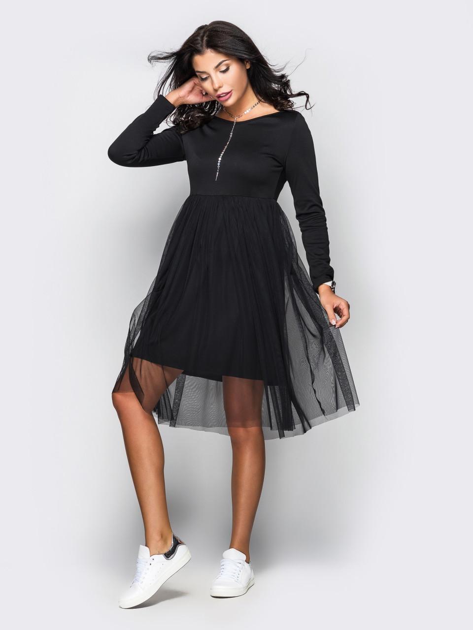 Плаття жіноче з фатіну та французького трикотажу чорне розмір 44