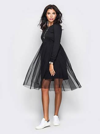 Плаття жіноче з фатіну та французького трикотажу чорне розмір 44, фото 2