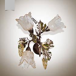 Бра флористика  3-х ламповое с виноградными листьями для кухни, дачи, загородного дома  7503