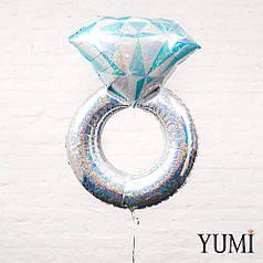 Фольгированный шарик с гелием Обручальное кольцо серебро