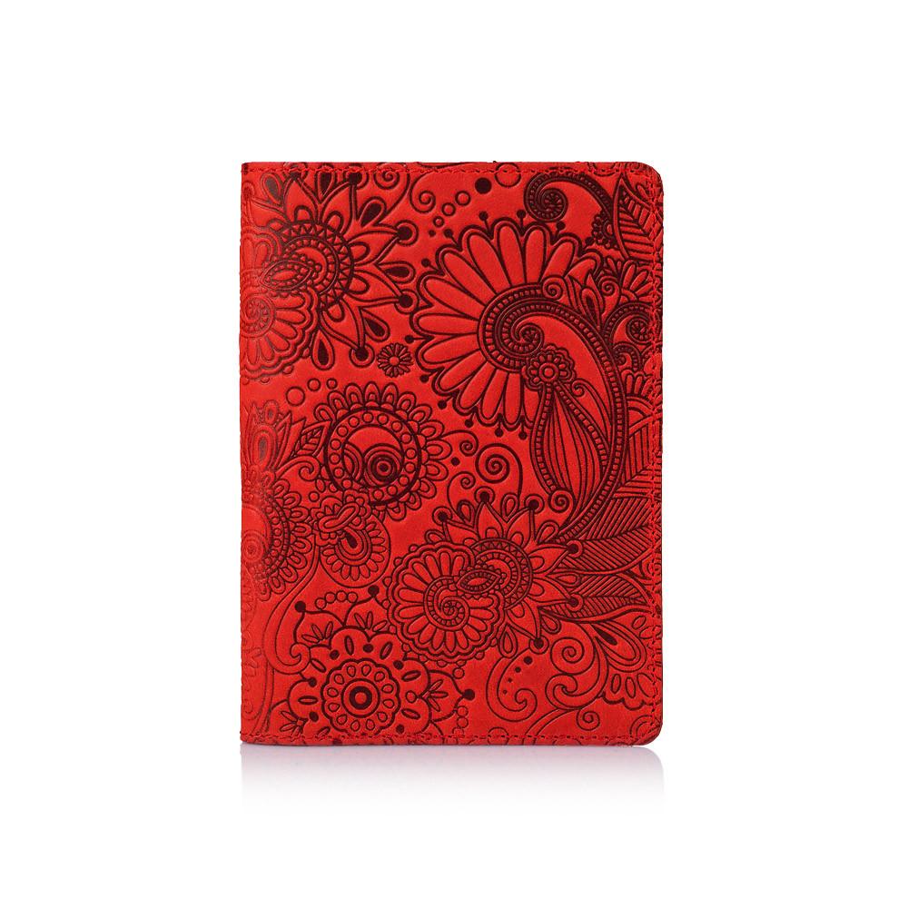 """Червона дизайнерська шкіряна обкладинка для паспорта, колекція """"Mehendi Art"""""""