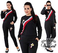 Спортивный костюм из ткани двухнитка + ленты со стразами + аппликации, Цвет черный