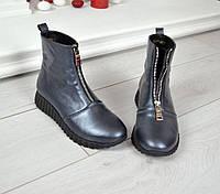 Модные женские кожаные ботинки темное серебро на молнии