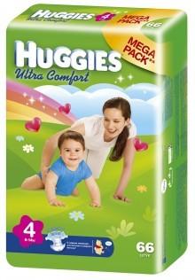 "Подгузники ""Huggies UltraComfort"" 4 (8-14кг) - 66шт"