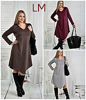 Платье 770437 р 62,64,66 женское батал асимметрия серое коричневое свободное большое
