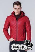 Куртка стеганая кожаная красная Braggart 7034M