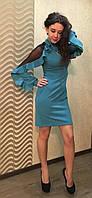 Женское стильное нарядное платье с рюшами,марсала, креп-дайвинг (р. 44,46,48,50) разные цвета модель 5