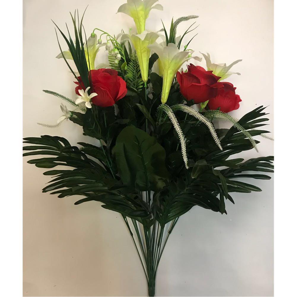 Искусственные цветы. Искусственный букет роза с лилией.