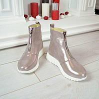 Модные женские кожаные ботинки серебро сатин на молнии