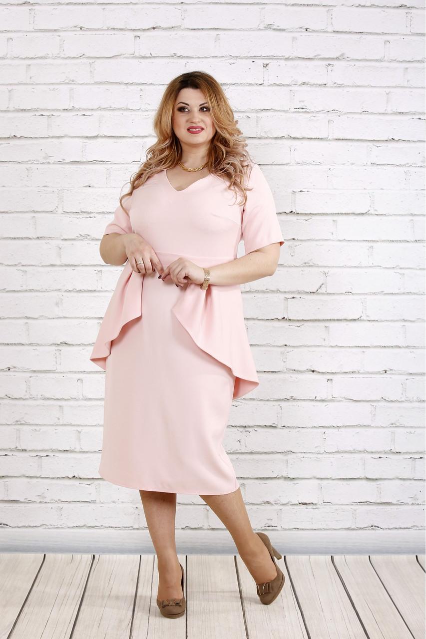 Платье больших размеров с баской 0752 розовое