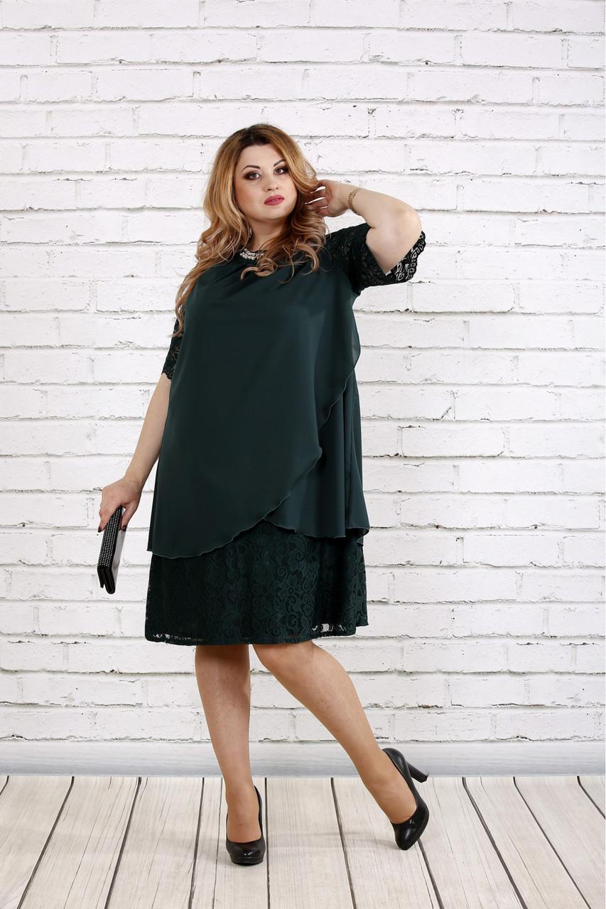 9ceb2c731a71074 Зеленое платье для полных скрывающее живот 0751 - DS Moda - женская одежда  оптом от производителя
