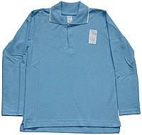 Рубашка-поло голубая для мальчика, белая полоска на воротнике, рост 128 см, ТМ Ля-ля